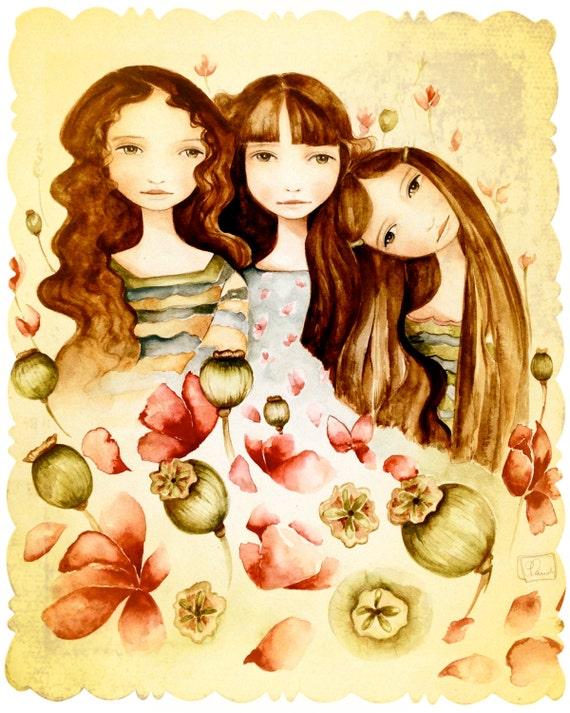 The 3 sisters vintage art large print brown hair