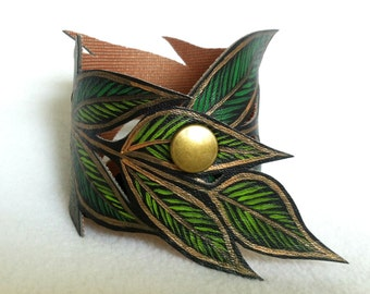 Vegan Leather Leaf Cuff, Leaf Bracelet Hand Painted, Handmade Jewelry, Leaf Jewelry, Gifts for her