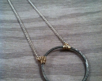 """Antiqued sterling silver """"circle to the center necklace"""""""