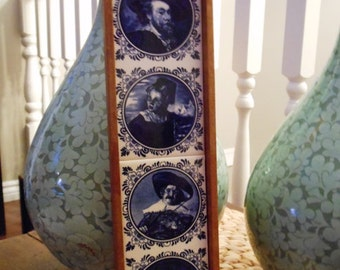 Vintage Delft Blue Ceramic Wall Hanging Historic Dutch Figures on Tile 1960s