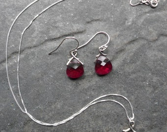 Red Swarovski briolette pendant necklace and earrings set sterling silver July birthstone Prom Wedding jewelry