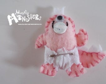 Spike the Baby Monster- Feltie Pin...in baby PINK