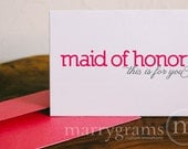 To My Bridesmaid, Maid of Honor, Matron of Honor, Flower Girl, Wedding Party... Wedding Thank You Cards to go with a Gift (Set of 6)