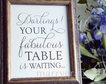 Bridal Shower Wedding Seating Sign - Darlings! Breakfast at Tiffany's Inspired Shower - Audrey Hepburn Matching Table Numbers Available SS01