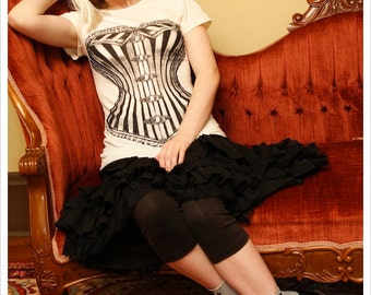Victorian Corset Tshirt - Womens tee - Ivory - Off White