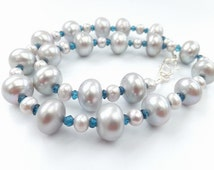 Pearl necklace, London blue topaz, silver grey, freshwater pearls, Pacific Silvercloth bag: Simply Adorned