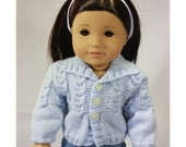 "18"" Doll Clothes - Seperates - Light Blue Winter Warmth Cables Sweater to fit American Girl"