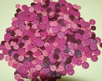 "Bulk Lot, 400 Small Pink Buttons  1/2"" to 5/8 "", Lot 270"