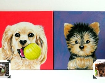 Two 12x12x1.5 inch Custom Dog Portraits Acrylic / Custom Pet Portraits - 1 to 2 Pets Close-Up Solid background Gift Memorial Nursery Puppy