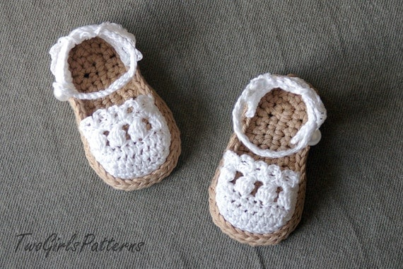 Crochet Pattern for Baby Espadrille Sandals - Crochet pattern 119 - Instant Download L