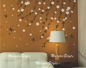 Branch flowers with Butterflies -vine flower Vinyl Wall Decalwhite floral, wall decal tree nursery wall decal baby wall decors kids mural