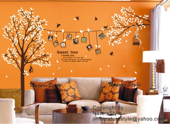 wall decal Photo with Flying birds- Wall Decal  Sticker Nature tree decal branch decal birds decal room decor nursery decal frame decal