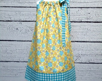 Girls Pillowcase Dress Yellow Polka Dot Roses Blue Gingham - Size 6-12 month, 12-18 month, 18 - 24 month, 2 / 3, 4 / 5, 6 / 7, 8 / 9