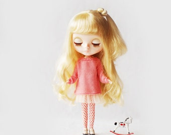 Miss yo hand-knitted Casual Style Sweater for Blythe doll - doll outfit - Pink