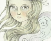 Original Illustration Whimsical Pencil Drawing - Myria by Amalia K