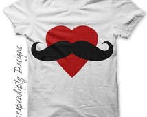 Girls Mustache Iron on Transfer - Heart Iron on Shirt PDF / Moms Mustache Shirt / Kids Valentines Tshirt / Matching Family Shirts IT175-R