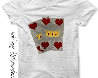Queen of Hearts Iron on Transfer - Cards Iron on Shirt / Alice in Wonderland Tshirt / KIds Girls Clothing Tops / Wonderland Printable IT81-D
