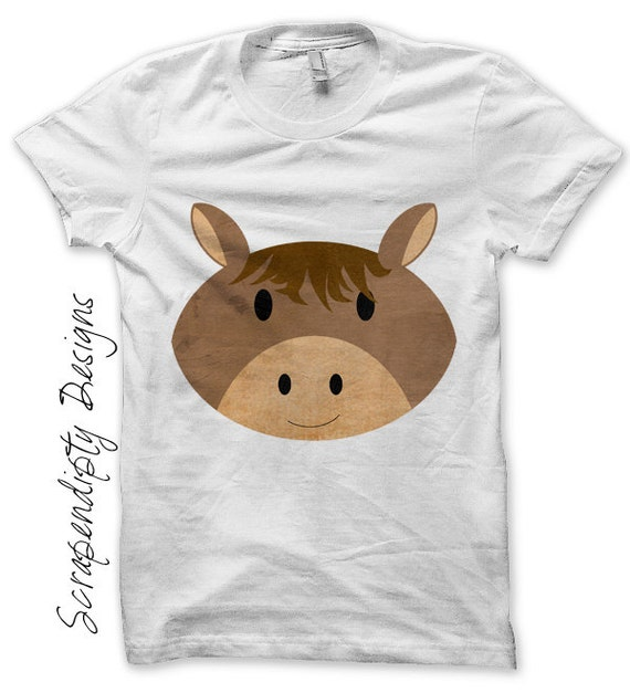 Iron on Horse Shirt PDF - Farm Iron on Transfer / Kids Girls Clothing Tshirt / Farm Birthday Party / Toddler Horse Tshirt Clothes IT226