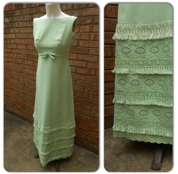 Vintage 1960s Emma  Domb Mint Fringe Maxi Dress Gown S  Sleeveless Bow Cocktail Dress Flapper Gatsby Mod Madmen