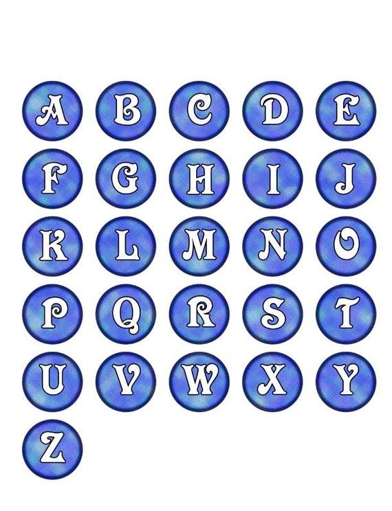 ABCs In Blue Alphabet Letters For Bottlecap Images Brushed