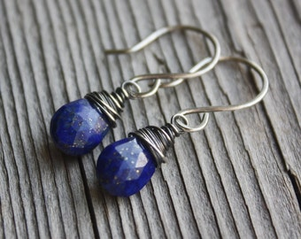 Blue Lapis Earrings- Sterling Silver, Artisan Earrings, Wire Wrapped Earrings,