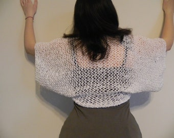 Vest Bolero Shrug...Hand Knitted Wedding Bridal Prom Spring Summer Shrug