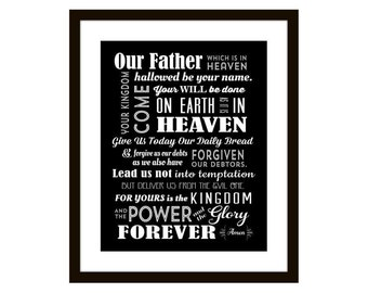 The Lord's Prayer, Scripture Art, Catholic, Christian, Typography Art, Giclee Art Print, confirmation gift, graduation gift