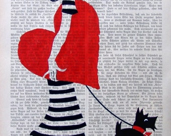 MY HEART  Print Poster Mixed Media Painting Illustration Wall Decor Digital