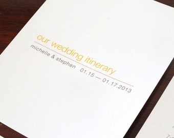 Printable Wedding Timeline -- Modern Schedule, Itinerary, Bridesmaids and Groomsmen