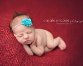 Aqua Baby Headband. Newborn Headband. Baby Girl Headbands. Infant Headband. Baby Hairbows. Infant Hairbows.