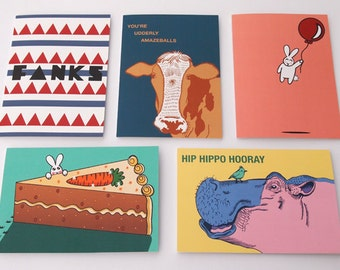 Set Of Any 5 Greeting Cards - Of Your Choice