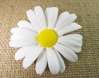 2 Vintage 62mm White Daisy Glue-On Flowers Pd445