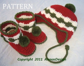 Crochet PATTERN Set - Pom-Pom Ear-flap Hat and Toddler Booties Girls Boys Child Christmas Gift Winter Set - Hat Sizes  6-12 months to Adult