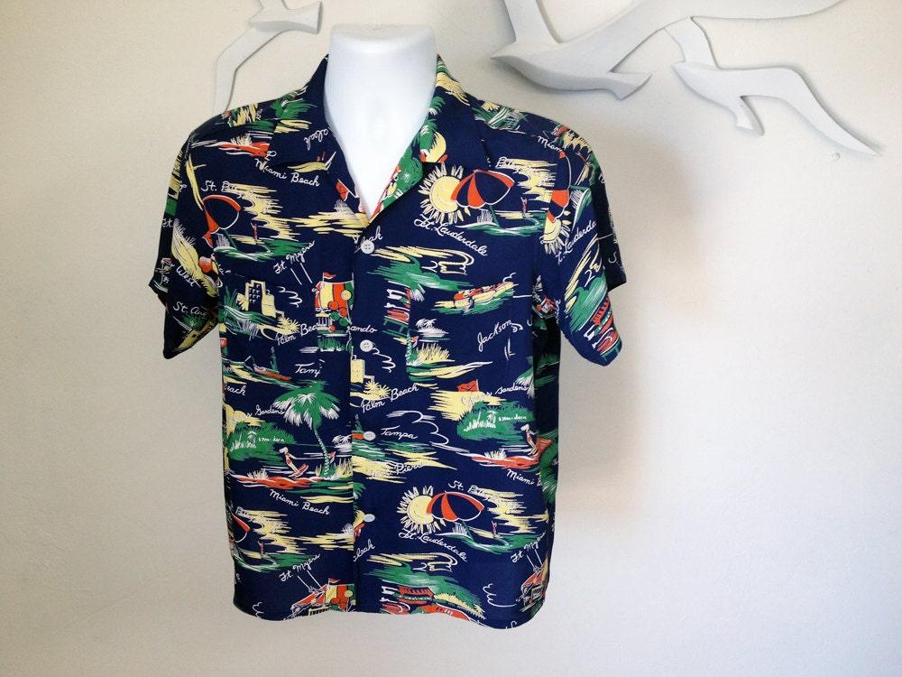 Vintage men s rayon hawaiian shirt florida cities