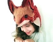 Fox Hat, Hand Felted , Woodland , Halloween Costume  for kids and adults, OOAK  Photo Prop