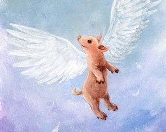 Flying Pig Print, Fantasy Artwork, 5x7 Wall Art, White Wings, Cute Pig Decor, Childrens Room Art, Nursery Art, Farm Animal Illustration