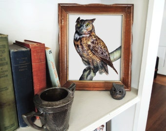 Fine Art Print, 8x10, Great Horned Owl, Forest Animal Art, Wildlife Illustration, Animal Portrait, Bird Art