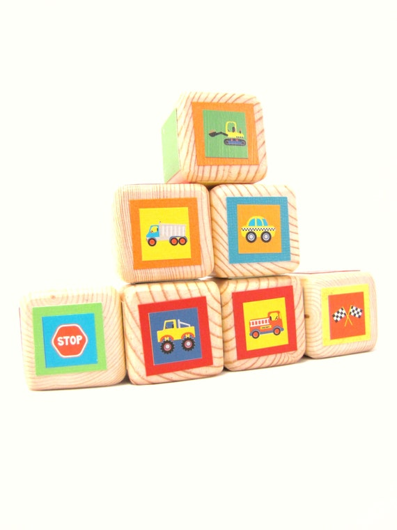 wooden block set. Heirloom toy. Primary colors. Nursery decor. Baby Shower. Transportation theme. Cars and Trucks. Toddler Birthday gift.