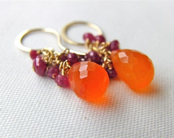 Carnelian Ruby Gold Filled Earrings Wire Wrapped Cluster Bright Orange and Pink