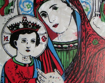 Vintage Mary and Baby Jesus Plaque. Madonna and Child,Santos,Religious Icon,Catholic,Wall Hanging,Mother's Day
