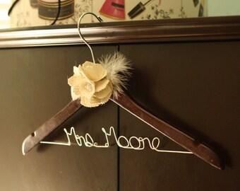Bridal Hanger with Burlap Flower - Walnut Finish - Personanlize Wedding Dress Hanger
