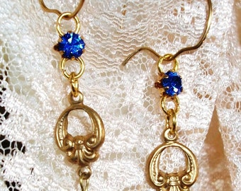"""Blue/White Glass DANGLES - SALE! -  Handcrafted EARRINGS, Vintage Components - """"At Your Door"""" - Aged Brass Stamping w/Blue & White Glass"""