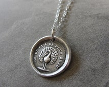 Peacock Wax Seal Necklace - antique wax seal charm jewelry Beauty Knowledge Power French motto by RQP Studio