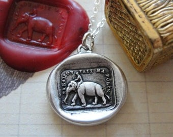 Reason Is My Strength - elephant wax seal necklace - antique wax seal jewelry in silver