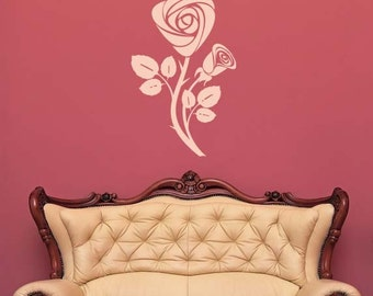 Rose Art, Rose Decal, Rose Wall Decor, Vine, Flowers, Floral Decal, Swirl, Leaf Decor, Leaves, Branch, Branches Decal, Home Decor, Wall Art
