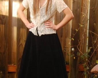 Vintage 50's Ralph Orginals Black Velvet Full Skirt