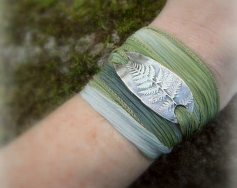 Fern Bracelet - Silk Ribbon Wrap Bracelet - Woodland - Forest - Botanical - Real Leaf - Silvan Leaf - Artisan Handcrafted- Recycled Silver