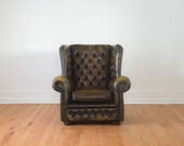 SALE Vintage Brown Tufted Leather Wingback Chesterfield Library Club Chair - HomesteadSeattle