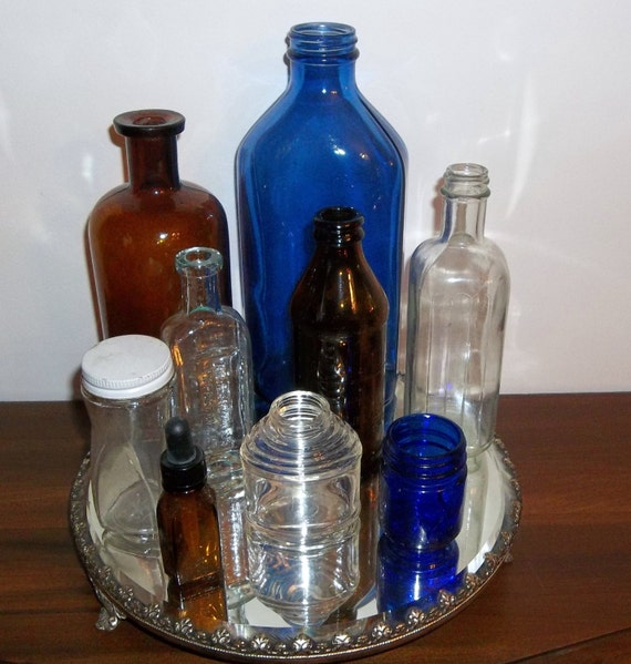 Lot of Cobalt Blue, Brown, Tinted and Clear Vintage Bottles Jars Instant Collection of 9  (1) Apothecary Medicine