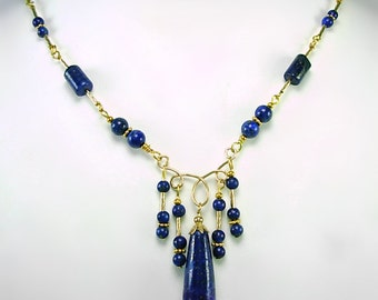Blue Lapis & Gold Fill  Necklace, Artisan Design, Elegant, Rich Royal Blue and Gold, gift for her under 60, blue gemstone and 14kt gold